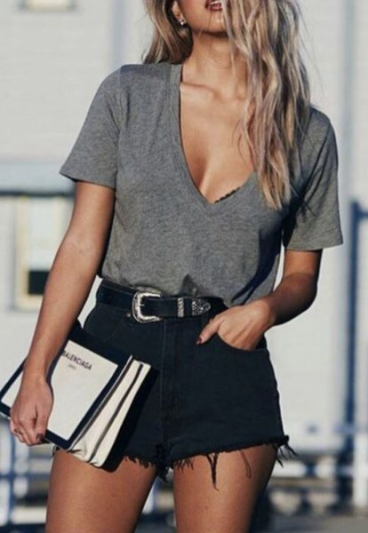 gray deep v-neck t-shirt black ripped shorts