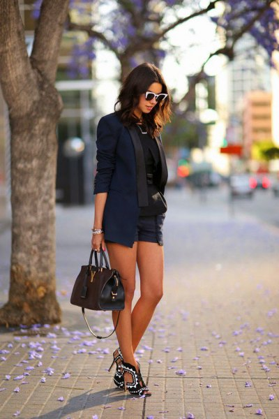 black ripped navy blue shorts