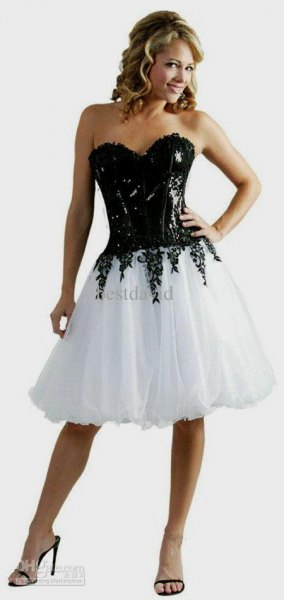 black and white corset tulle knee length dress