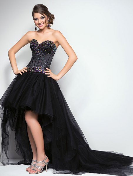 black corset with high low flanged chiffon dress