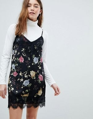 black floral combed dress in white dress shirt