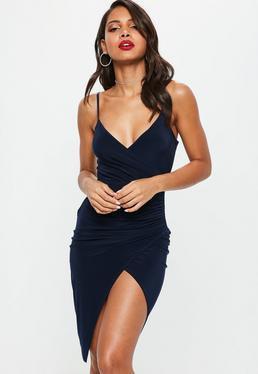 navy bodycon high split mini cami dress