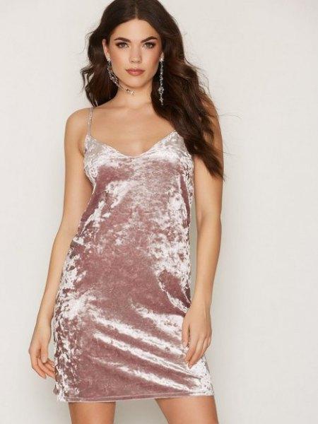 pink gold velvet dress