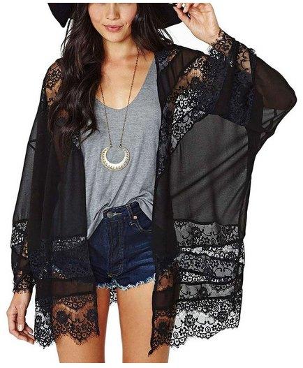 black lace pure kimono gray v-neck tee denim shorts
