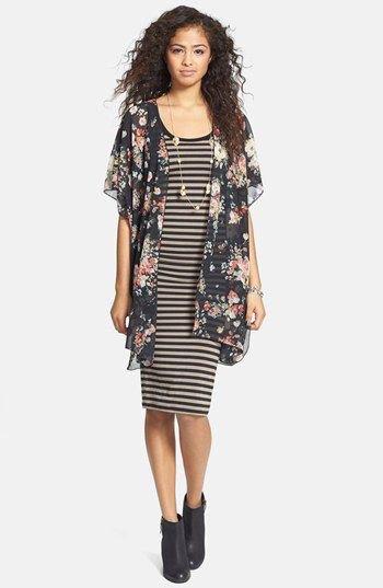 black rose print pure kimono striped knee length dress