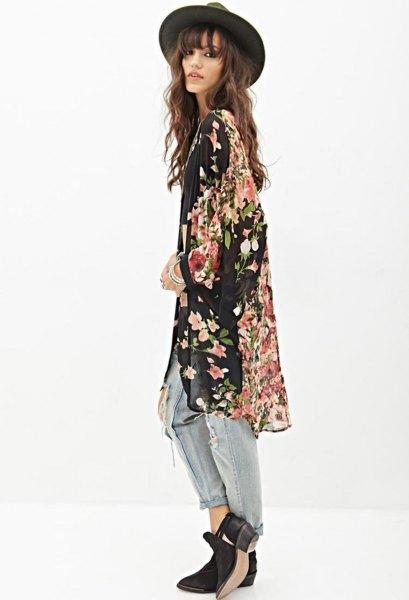 black flowers printed kimono ripped boyfriend jeans boots