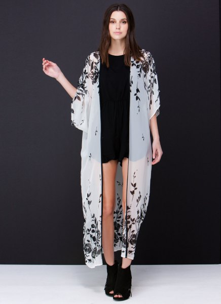 white maxi pure kimono black mini denim shorts