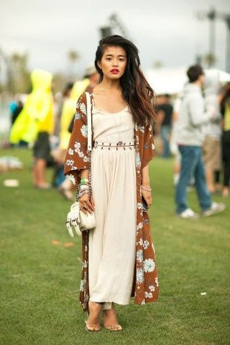 red floral printed semi sheer kimono with white tank maxi dress