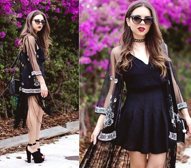 black skater dress pure kimono silver sequin details