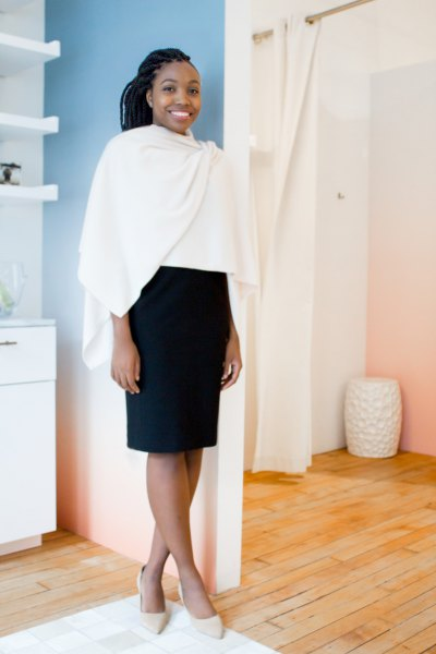 white shawl black pencil skirt