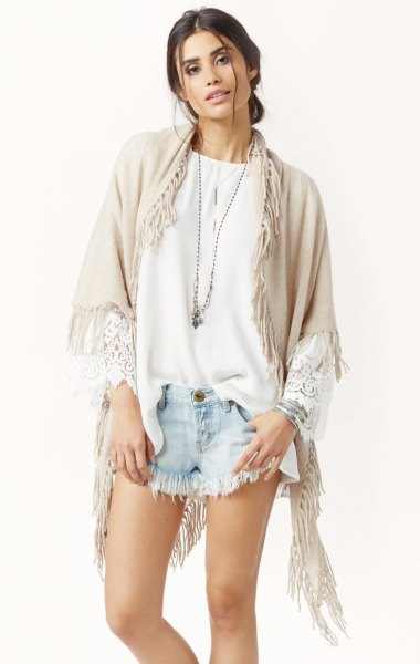 crepe cashmere lace wrap white blouse denim shorts