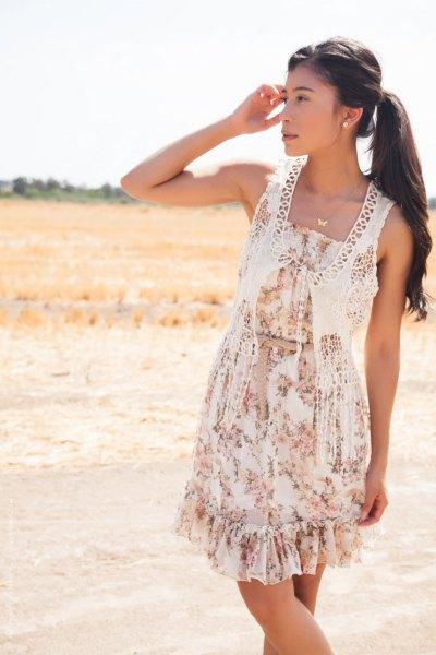 white crochet lace vest floral gathered waist floral mini dress