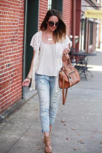 white chiffon blouse boyfriend jeans