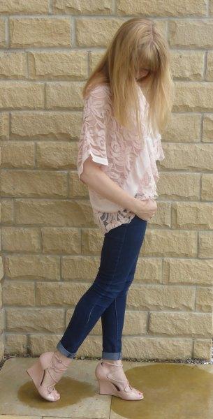 light pink lace vest white chiffon blouse