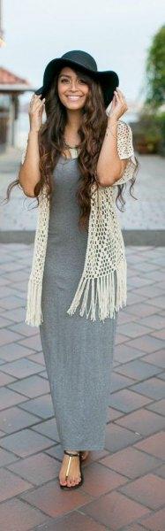 gray maxi dress white crochet lace vest