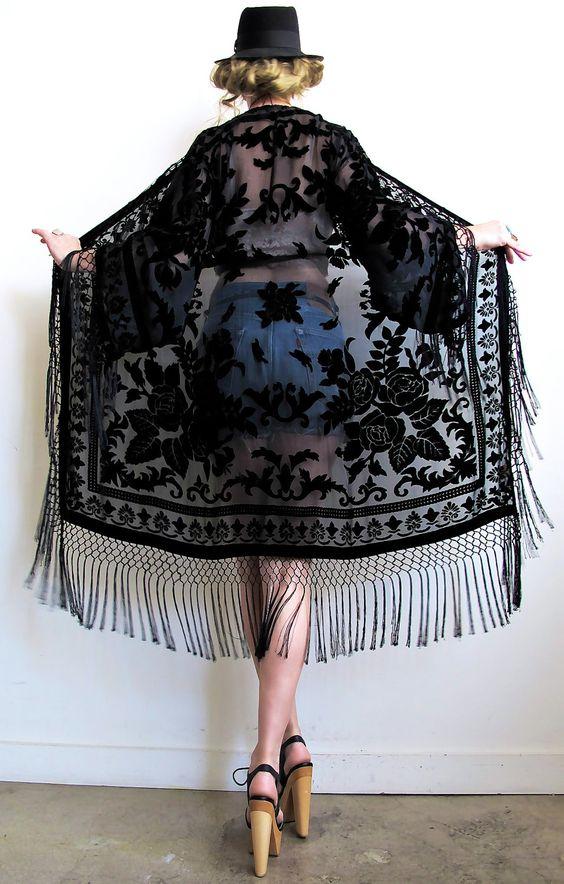 black lace kimono denim shorts