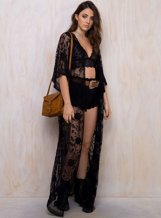 black lace kimono lace bralette