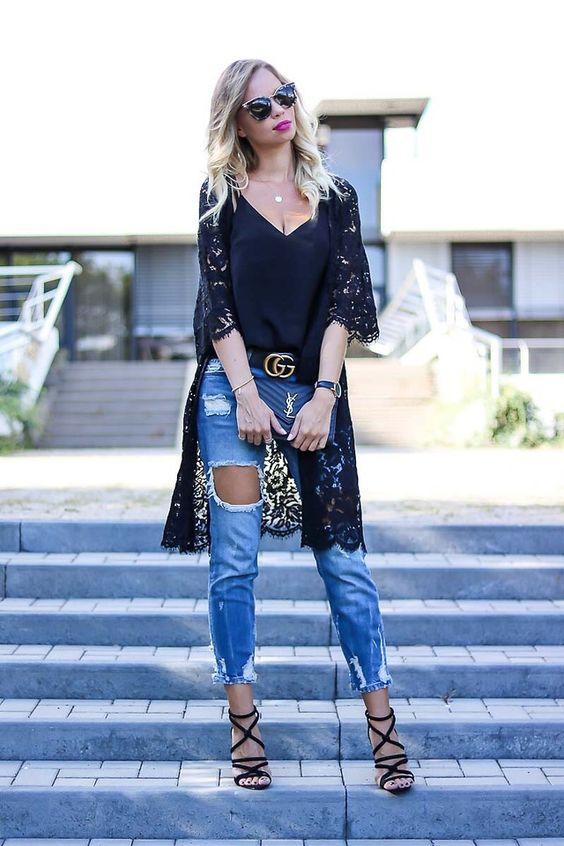 black lace kimono ripped jeans