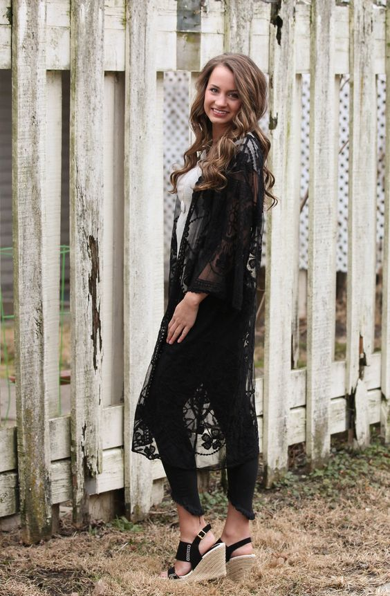 black lace kimono white black