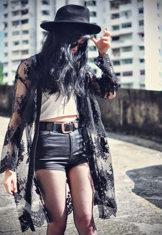 black lace kimono grunge