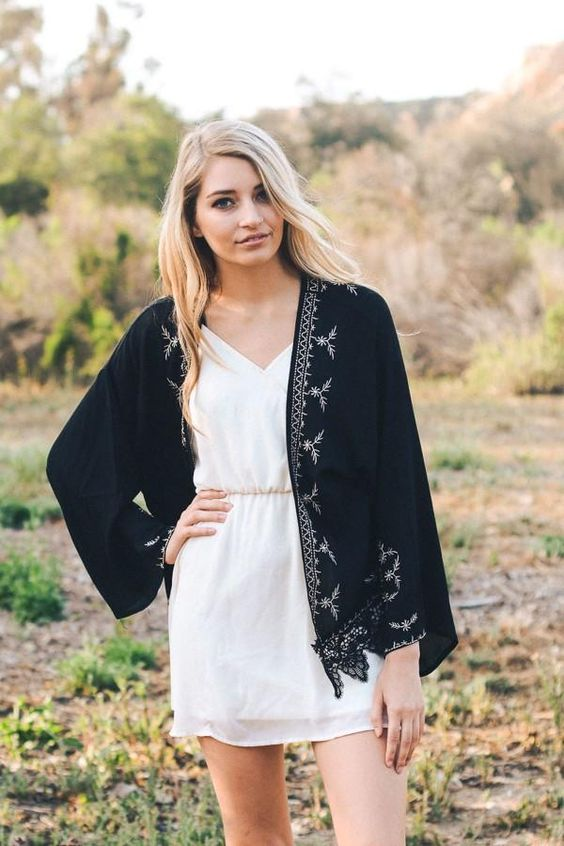black lace kimono white dress