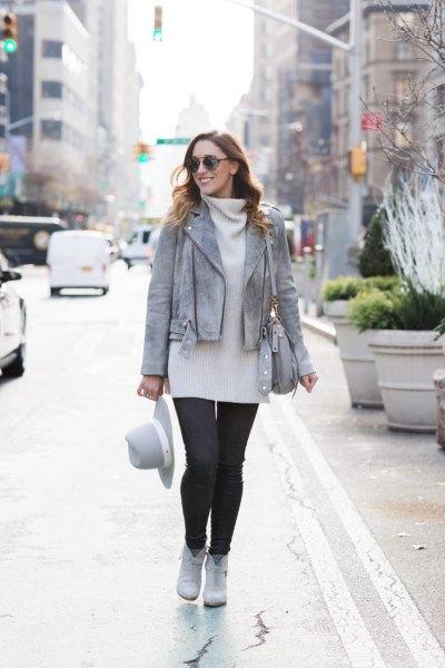gray leather jacket white turtleneck sweater dress