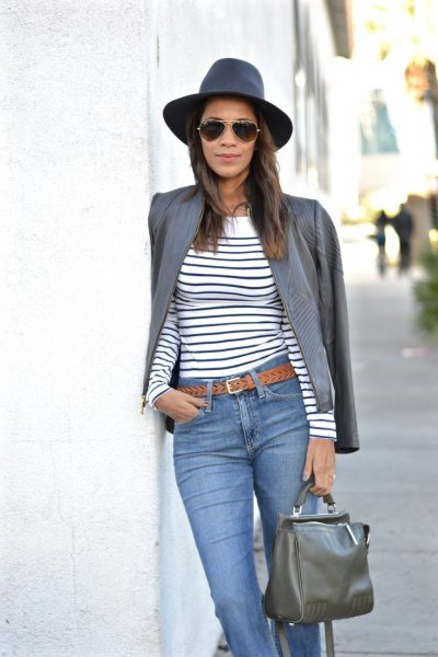 gray leather jacket navy blue and white striped long sleeve tee