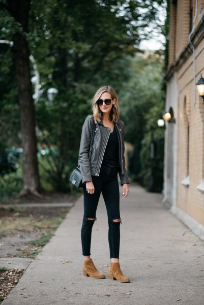 gray leather jacket all black clothes