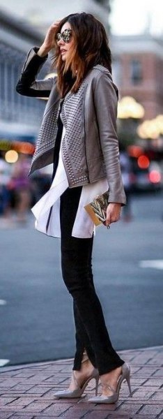 gray leather jacket white chiffon blouse