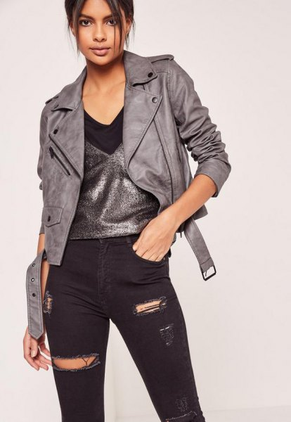gray leather jacket silver vest ripped black jeans