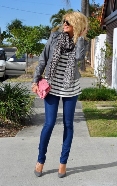 navy and white striped tee gray leopard print scarf