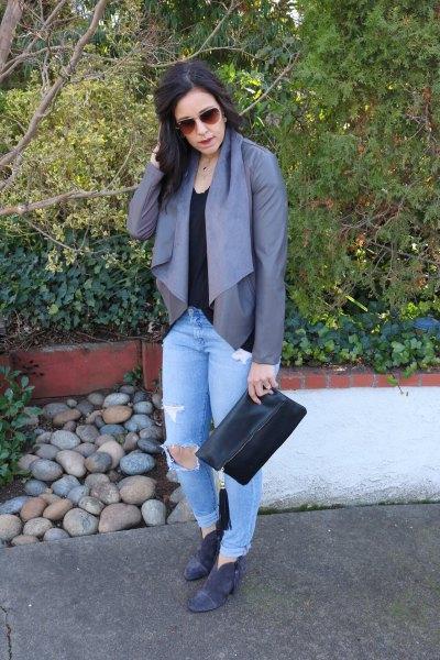 gray chiffon blouse light blue ripped boyfriends jeans