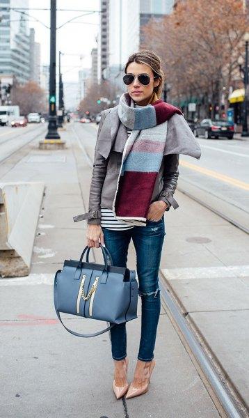 color block scarf blue skinny jeans