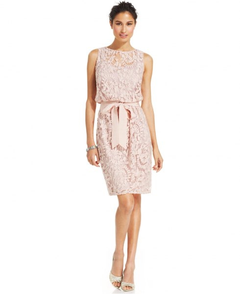 white sleeveless belt lace bodycon knee length dress