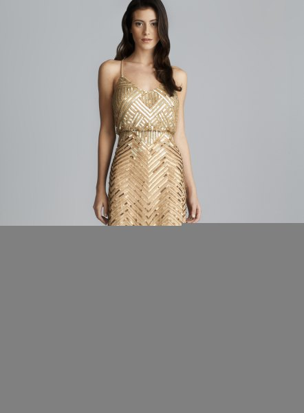 gold sequin deep v-neck blouson maxi dress