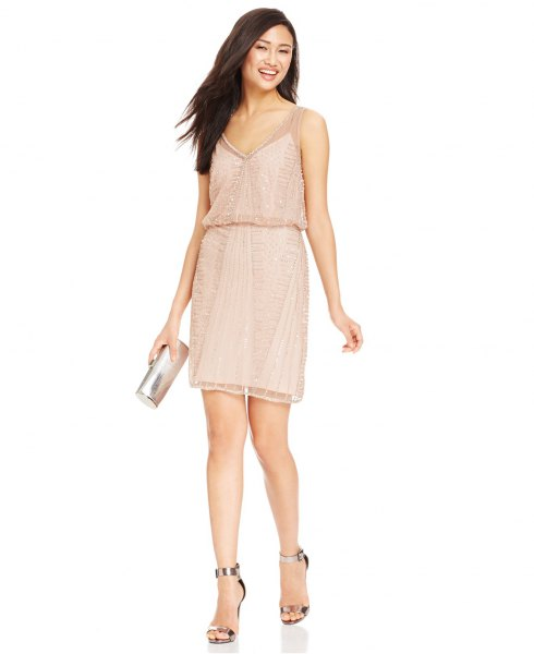 blush pink cami blouson mini dress