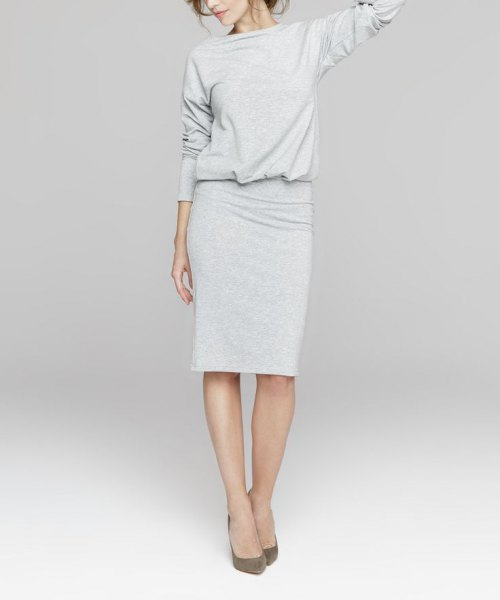 gray long sleeved blouse knee length sweater dress