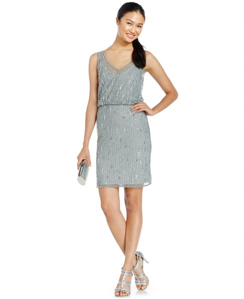 gray blouson mini dress silver sequin details