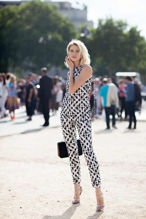 black and white jumpsuit ornate