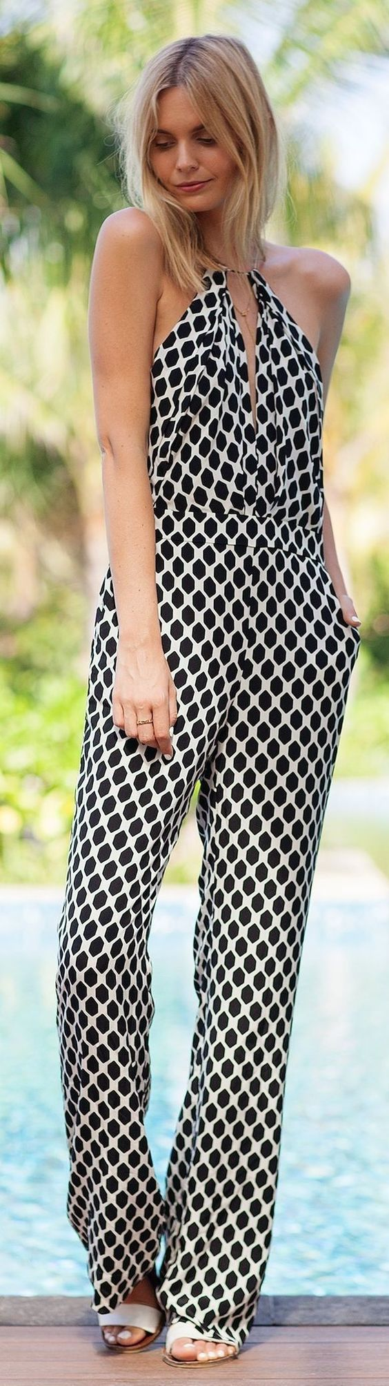 black and white jumpsuit halter