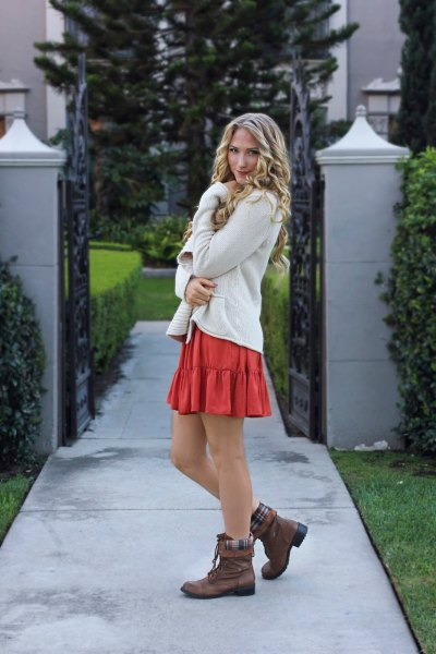 brown bay over boots white cardigan orange mini skirt