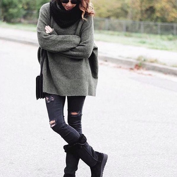 black mid calf fold over boots gray chunky knitted sweater