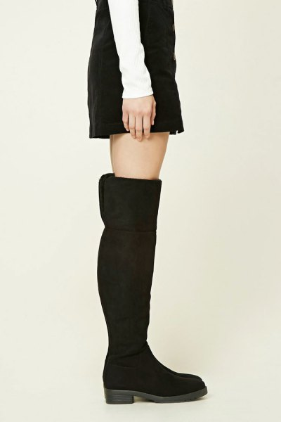 black suede over the kneecap over boots with a shift dress