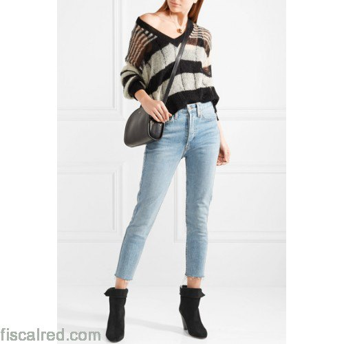 black and gray striped sweaters in v-neck sweater