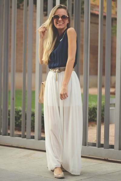 black sleeveless sweater white chiffon maxi skirt