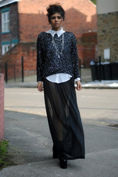 black and white sequin shirt black pure maxi skirt
