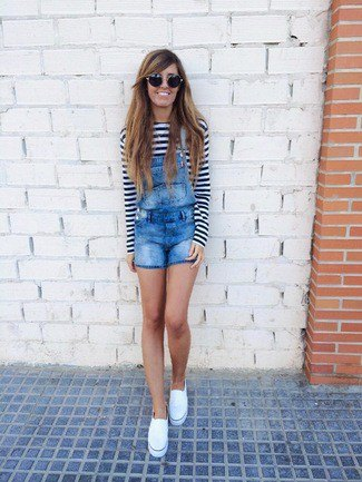 black and white striped long sleeve tee denim overall shorts