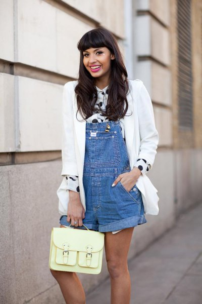overall shorts polka dot shirt white blazer