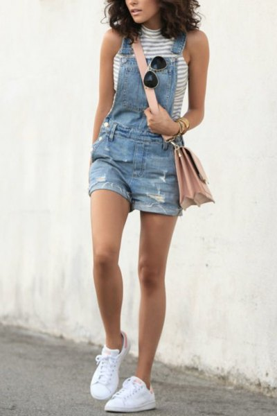 gray and white mock neck sleeveless top denim overall shorts