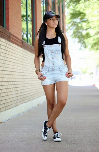 white denim overall shorts black sleeveless crop top